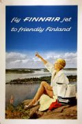 Vintage Finnair Travel Poster.